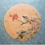 "Pair of Chinese silk paintings of Zhang Jianjun. ""The tiny bird sitting on a autumn tree branch."""