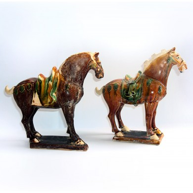 Sancai-glased pottery figure of horses Tang D...