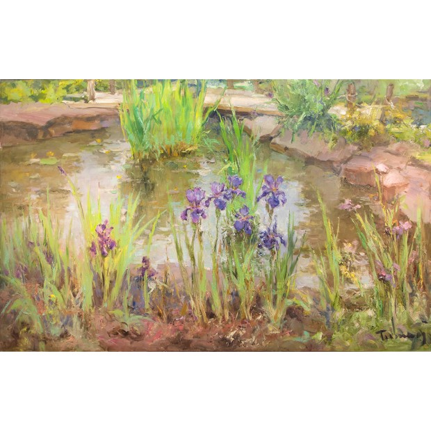 Pond with Irises.