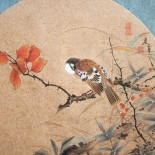 "Pair of Chinese silk paintings of Zhang Jianjun. ""The tiny blue bird sitting on a autumn tree branch."""