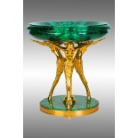 Malachite Dish on gilt bronze tripod-pedestal.