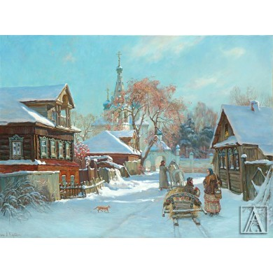 Russian village in the winter time